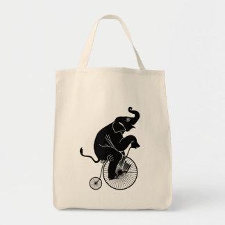 Elephant Riding a Bike Tote Bag