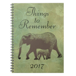 Elephant Sage Green Vintage Things to Remember Spiral Notebook