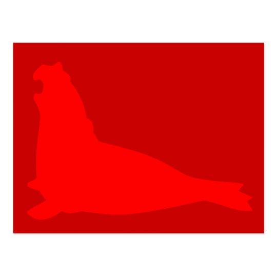 Elephant Seal Postcard Red