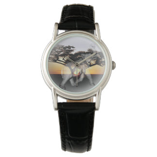 Elephant Shadow Dance Ladies Classic Leather Watch