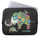 Elephant Shape Colourful Retro Flowers Laptop Sleeve