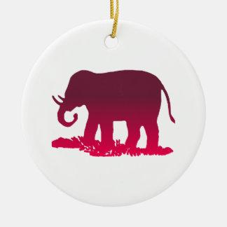 Elephant Shape Round Ceramic Decoration