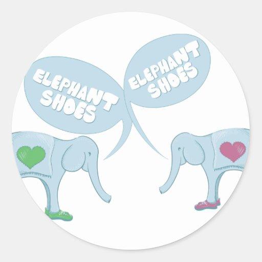 Elephant Shoes Round Sticker
