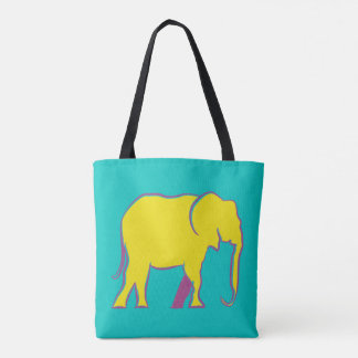Elephant Silhouette Colorful Bold Minimal Vibrant Tote Bag