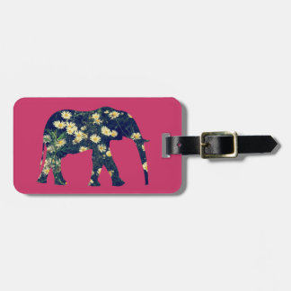 Elephant Silhouette Daisies Burgundy Girly Luggage Tag