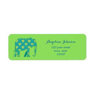Elephant Silhouette Green Heart Pattern Stylish Return Address Label