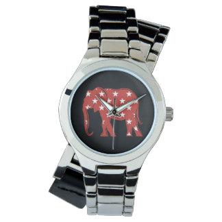 Elephant Silhouette Stars Pattern Red Cool Modern Watch