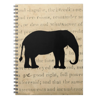 Elephant Silhouette Vintage 1860's Document Notebook