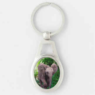 Elephant Silver-Colored Keychain Silver-Colored Oval Keychain