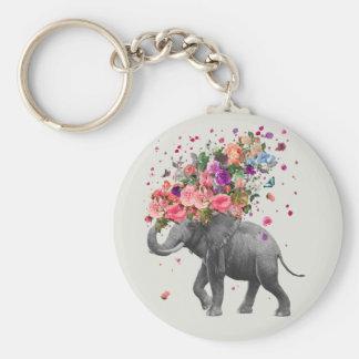 Elephant Splash Basic Round Button Key Ring