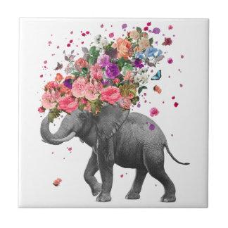 Elephant Splash Ceramic Photo Tile