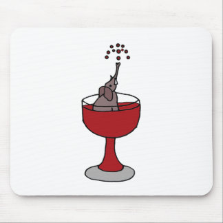 Elephant Spraying Wine Sitting in Wine Glass Mouse Pad