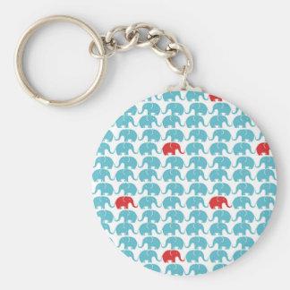 elephant square pattern basic round button key ring