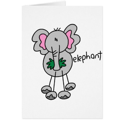 Elephant Stick Figure Card