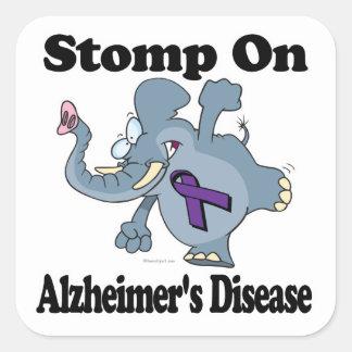 Elephant Stomp On Alzheimers Disease Square Sticker