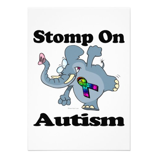 Elephant Stomp On Autism Awareness Design Personalized Invitations