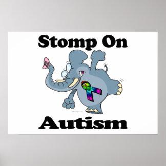 Elephant Stomp On Autism Awareness Design Posters