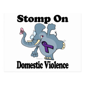 Elephant Stomp On Domestic Violence Postcard