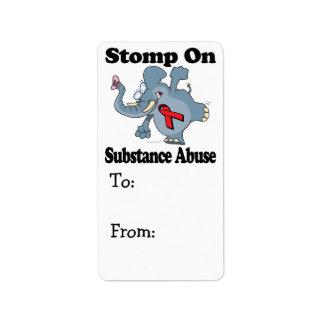 Elephant Stomp On Substance Abuse Address Label