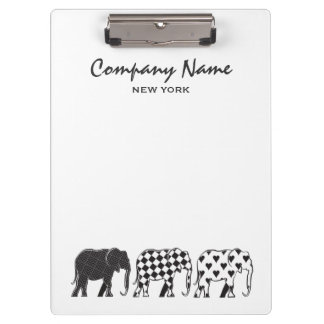 Elephant Stylish Black White Modern Company Clipboard