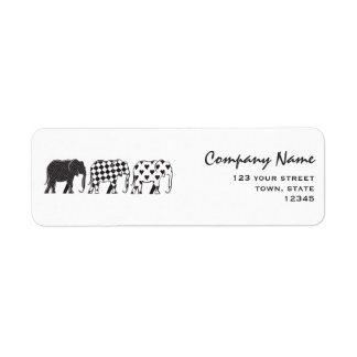 Elephant Stylish Black White Modern Company Return Address Label