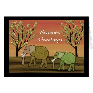 Elephant Sunset Seasons Card