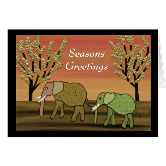 Elephant Sunset Seasons Greetings Card