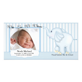 Elephant Sweet Baby Boy Birth Photo Greeting Card