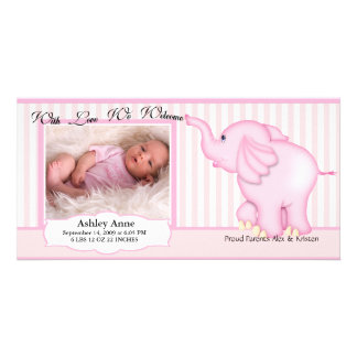 Elephant Sweet Baby Girl Birth Personalized Photo Card