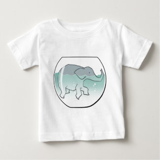 Elephant Swimming around in Goldfish Bowl Baby T-Shirt