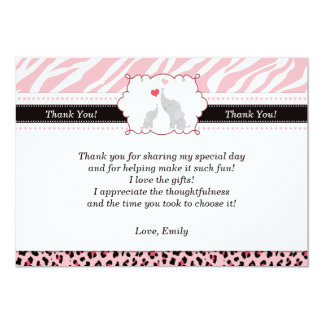 Elephant Thank You Card Pink Black Zebra 13 Cm X 18 Cm Invitation Card