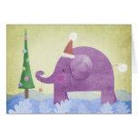 Elephant & the Christmas tree - card