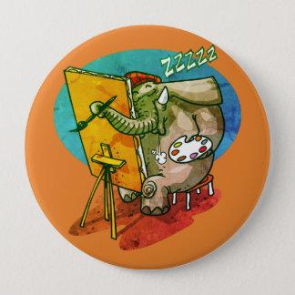 elephant the painter is sleeping funny cartoon 10 cm round badge