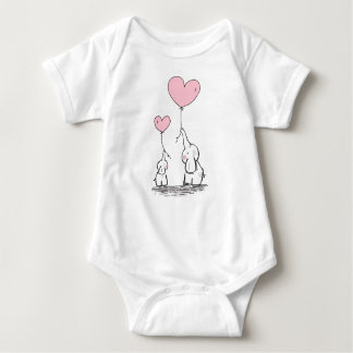 Elephant to mother and sound holding heart balloon baby bodysuit
