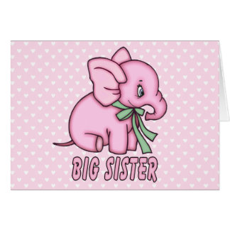 Elephant Toy Big Sister Card
