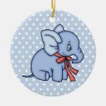 Elephant Toy Blue Round Ceramic Decoration