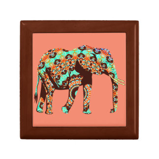 Elephant Tribal and Pop Fusion Watercolor Artwork Gift Box