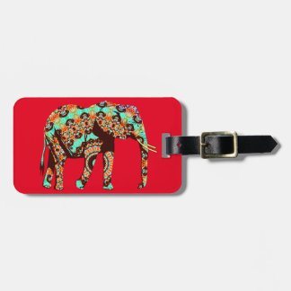 Elephant Tribal and Pop Fusion Watercolor Artwork Luggage Tag