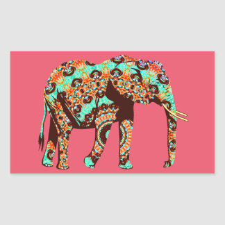 Elephant Tribal and Pop Fusion Watercolor Artwork Rectangular Sticker
