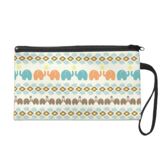 Elephant Tribal Weave Pattern Wristlet Purses