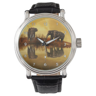 Elephant Trio Wildlife Wrist Watch