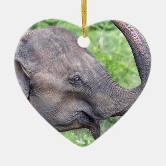 Elephant, Udawalawe, Sri Lanka Ceramic Heart Decoration