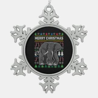 Elephant Ugly Christmas Sweater Wildlife Series Snowflake Pewter Christmas Ornament