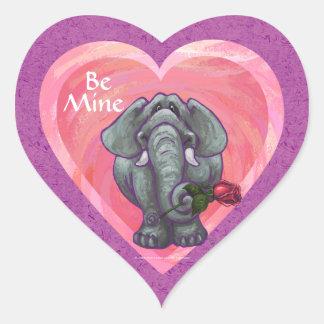 Elephant Valentine's Day Heart Stickers