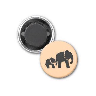 Elephant Vintage Wood Engraving 3 Cm Round Magnet