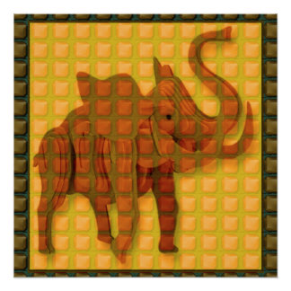 Elephant Vintage Woodcraft Photo GIFT FUN ethnic