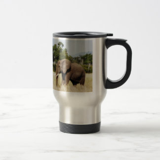 Elephant walking Masai Mara, Kenya travel mug