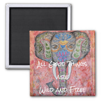 Elephant Watercolor Wild and Free Thoreau Magnet