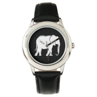 Elephant White Silhouette Elegant Minimal Stylish Watch