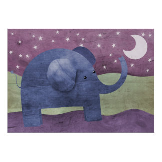 Elephant wishes upon a star - poster prints